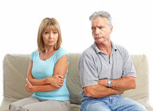 Divorce. Sad elderly couple. Divorce. Isolated over white background Stock Images