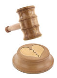 Divorce. A judge�s gavel coming down on a broken heart design Royalty Free Stock Photo