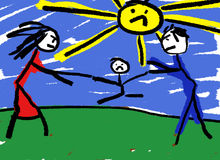 Divorce. A childlike drawing illustrating divorce with the child be fought over in the middle Royalty Free Stock Image