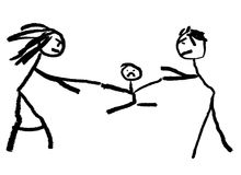Divorce. A childlike drawing illustrating divorce with the child be fought over in the middle Royalty Free Stock Photography