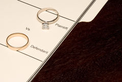 Divorce. A folder for a divorce case and wedding rings Royalty Free Stock Photos