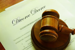 Divorce agreement. Legal gavel on top of divorce papers Royalty Free Stock Images