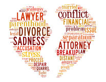 Divorce broken heart, word cloud concept 5. Divorce broken heart, word cloud concept on white background Stock Photo