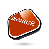 Divorce button. 3d illustration of red divorce button isolated on white background Royalty Free Stock Image