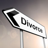 Divorce concept. Illustration depicting a sign post with directional arrow containing a divorce concept. Blurred background Royalty Free Stock Image