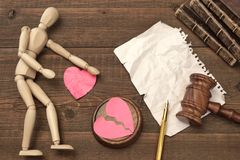 Divorce Concept In The Court. Gavel, Law Book, Judges Gavel Royalty Free Stock Photography