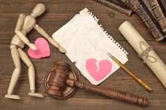 Divorce Concept In The Court. Gavel, Law Book, Judges Gavel Stock Photos