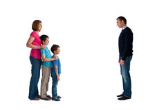 Divorce concept family separation. Men women and children isolated on a white background Royalty Free Stock Photos