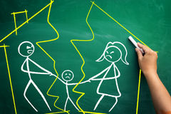Divorce. Concept, family split apart with broken home,  scribble on blackboard Royalty Free Stock Images