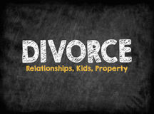 Divorce concept. Relationships Kids Property. Black board with texture, background Stock Photos