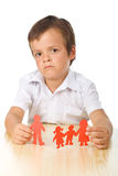 Divorce concept with sad kid-focus on hands royalty free stock photos