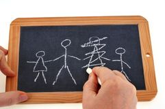 Divorce concept with a school slate stock photography