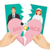 Divorce concept vector illustration of splitted heart and photo Stock Photos