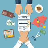 Divorce concept vector. Divorce concept. Meeting of husband and wife to sign agreement divorce papers. Property division. Vector illustration of a flat design Royalty Free Stock Photos