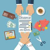 Divorce concept vector. Divorce concept. Meeting of husband and wife to sign agreement divorce papers. Property division. Vector illustration of a flat design Royalty Free Stock Images