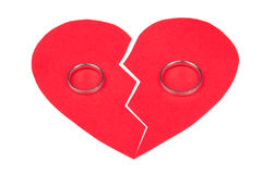 Divorce concept - wedding rings on red broken heart isolated on Stock Photography