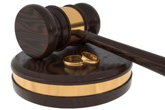 Divorce concept with wooden gavel and gold wedding rings. 3D rendered illustration vector illustration