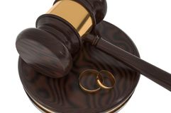 Divorce concept with wooden gavel and gold wedding rings. 3D rendered illustration royalty free illustration