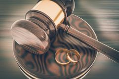 Divorce concept with wooden gavel and gold wedding rings. 3D rendered illustration. Retro style stock illustration