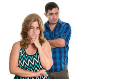 Divorce, Conflicts in marriage - Sad hispanic couple. Divorce, Conflicts in marriage - Sad and angry hispanic couple - Isolated on white stock photography