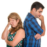 Divorce, Conflicts in marriage - Sad hispanic couple. Divorce, Conflicts in marriage - Sad and angry hispanic couple - Isolated on white royalty free stock image