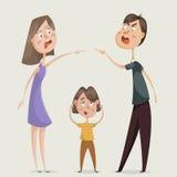 divorce Conflit de famille Les couples équipent et la femme jurent et la fin d'enfant ses oreilles Photographie stock libre de droits