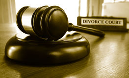 Divorce Court gavel on a desk Stock Photo