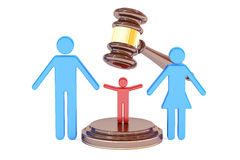 Divorce and custody child concept with gavel and family, 3D  Royalty Free Stock Images