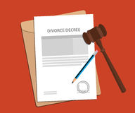 Divorce decree agreement concept illustration with paperworks, pen and a judge hammer Royalty Free Stock Photos