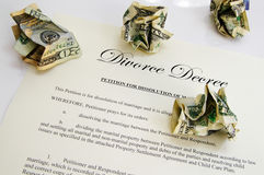 Divorce decree and cash Royalty Free Stock Images