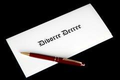 Divorce Decree document and pen