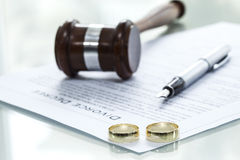Divorce decree form with ring Royalty Free Stock Photo