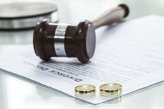 Divorce decree form with ring Stock Image