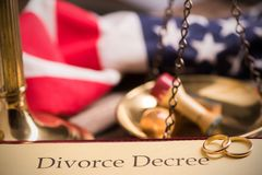 Divorce decree and gavel Royalty Free Stock Photo