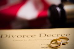 Divorce decree and gavel stock photos