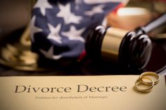 Divorce decree and gavel Royalty Free Stock Image