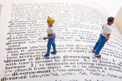 Divorce Definition. Miniature figures with divorce definition Stock Images
