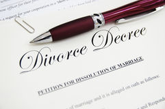 Divorce documents. Legal divorce papers with pen, closeup Royalty Free Stock Photography