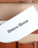 Divorce documents in a leather briefcase-vertical Stock Images