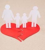 Divorce effect. On kids concept with hands cutting paper people family Royalty Free Stock Photos