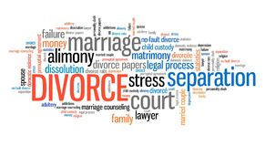 Divorce. Ending the marriage. Word cloud sign Stock Image