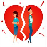 Divorce. Family conflict. Break up relationship. Married couple man and woman angry and sad against broken heart. Cartoon characte. Rs. Vector illustration Stock Photography