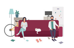 Divorce, family quarrel. Couple on the couch turning away from each other. flat colorful illustration. Royalty Free Stock Images