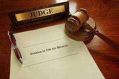 Divorce filing. Petition to File for Divorce document and judge gavel and nameplate Royalty Free Stock Photos