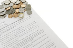 Divorce Form With Pile Of Coin Stock Photo