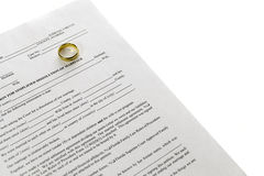 Divorce Form With Single Wedding Ring. Blank divorce form with wedding ring Stock Photography