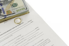 Divorce Form With Stack Of Hundred Dollars Bills. Also a single gold wedding ring on form. Done on white background Royalty Free Stock Photos