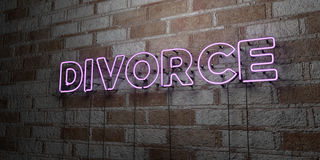 DIVORCE - Glowing Neon Sign on stonework wall - 3D rendered royalty free stock illustration Stock Photo