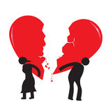 Divorce Heartache Concept. Broken Heart carried by stick man and woman. Isolated on white vector of an illustration or a couple carrying their broken hearts due Stock Photo
