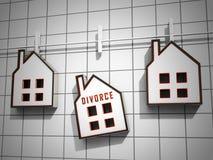 Divorce House Split Icons Depicts Legal Sharing Of Property After Divorcing - 3d Illustration